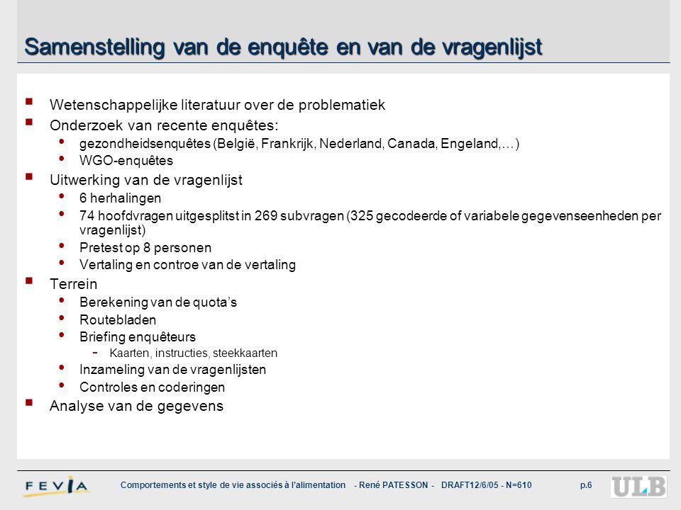 Comportements et style de vie associés à l'alimentation - René PATESSON - DRAFT12/6/05 - N=610p.6 Samenstelling van de enquête en van de vragenlijst 