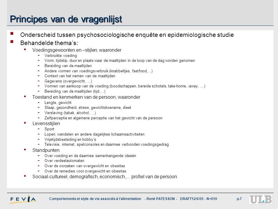 Comportements et style de vie associés à l'alimentation - René PATESSON - DRAFT12/6/05 - N=610p.7 Principes van de vragenlijst  Onderscheid tussen ps