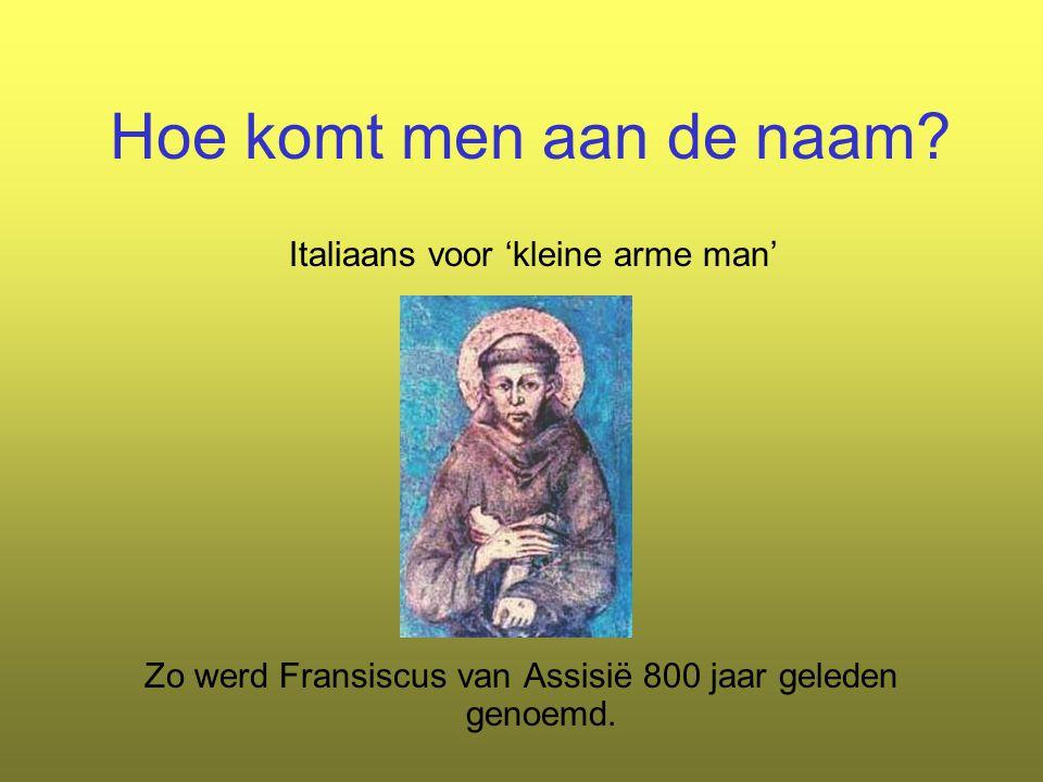 Hoe komt men aan de naam? Italiaans voor 'kleine arme man' Zo werd Fransiscus van Assisië 800 jaar geleden genoemd.