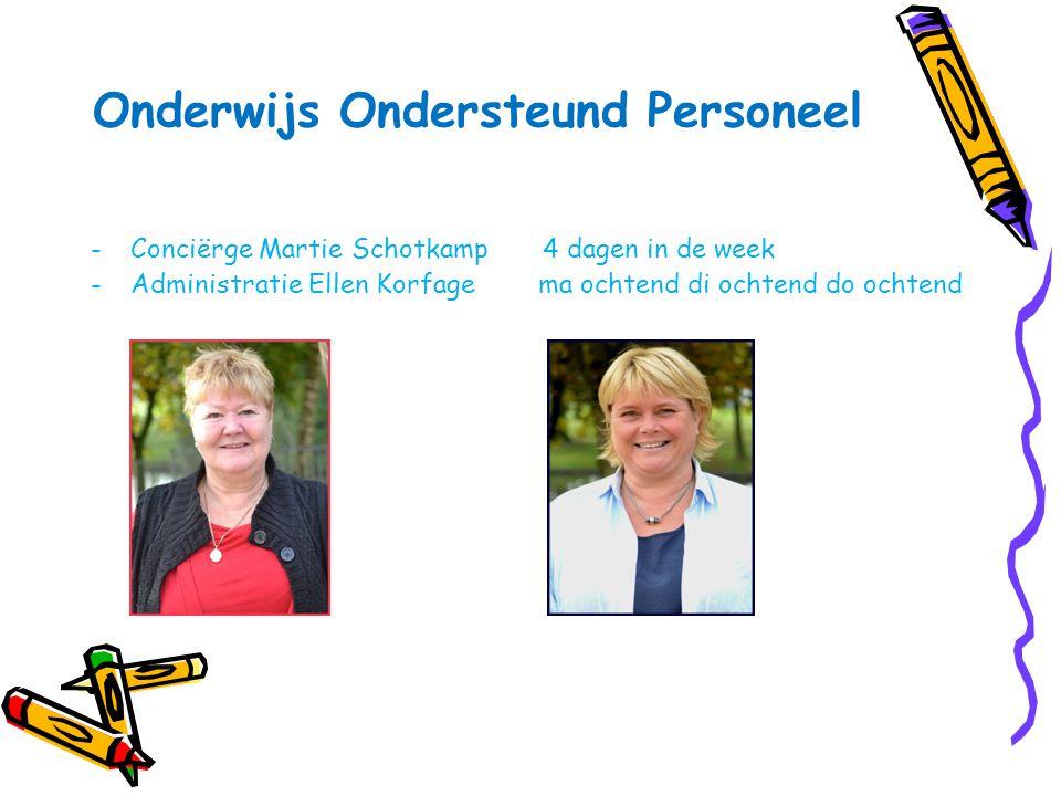 Onderwijs Ondersteund Personeel -Conciërge Martie Schotkamp 4 dagen in de week -Administratie Ellen Korfage ma ochtend di ochtend do ochtend