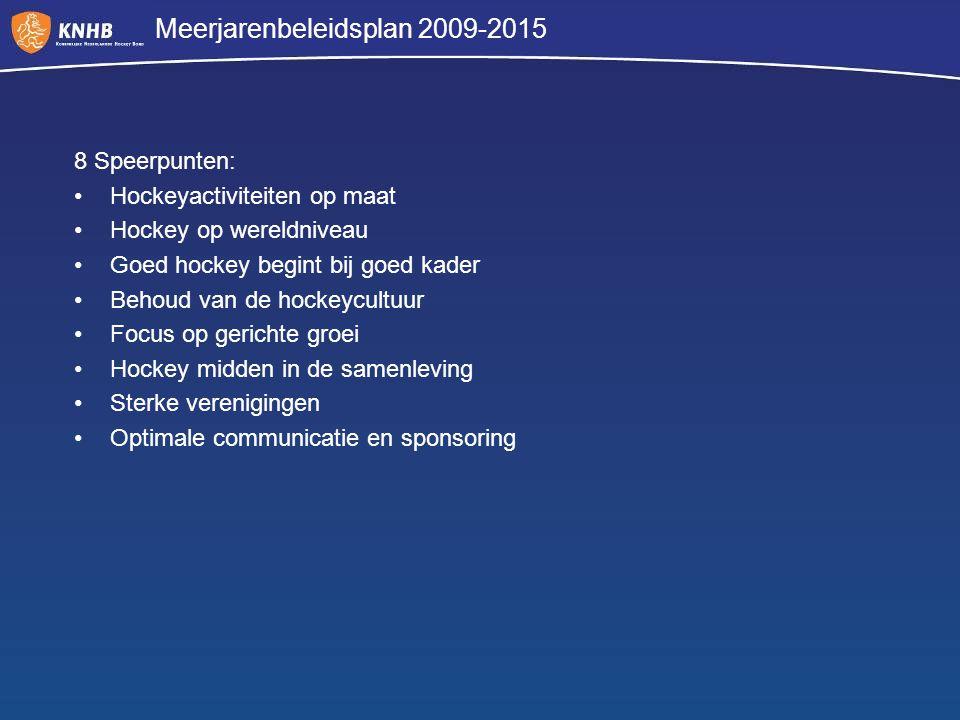 8 Speerpunten: Hockeyactiviteiten op maat Hockey op wereldniveau Goed hockey begint bij goed kader Behoud van de hockeycultuur Focus op gerichte groei
