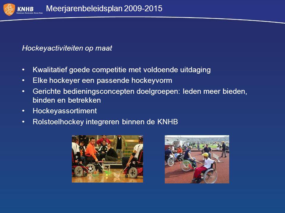 Meerjarenbeleidsplan 2009-2015 Hockeyactiviteiten op maat Kwalitatief goede competitie met voldoende uitdaging Elke hockeyer een passende hockeyvorm G