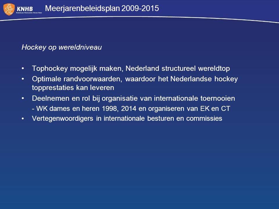 Meerjarenbeleidsplan 2009-2015 Hockey op wereldniveau Tophockey mogelijk maken, Nederland structureel wereldtop Optimale randvoorwaarden, waardoor het
