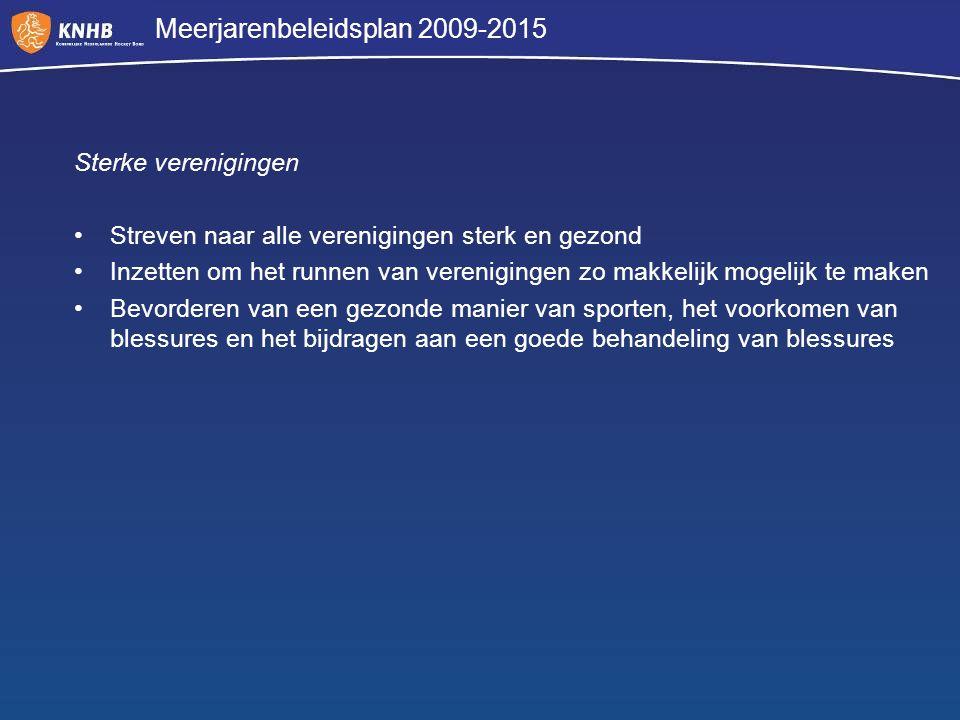 Meerjarenbeleidsplan 2009-2015 Sterke verenigingen Streven naar alle verenigingen sterk en gezond Inzetten om het runnen van verenigingen zo makkelijk