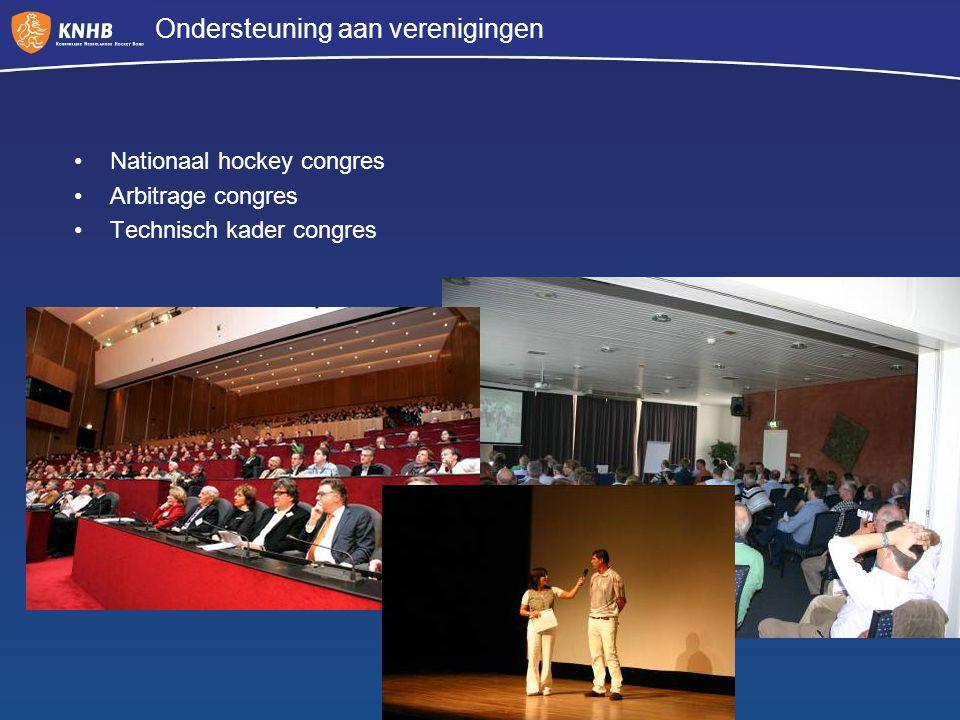 Ondersteuning aan verenigingen Nationaal hockey congres Arbitrage congres Technisch kader congres