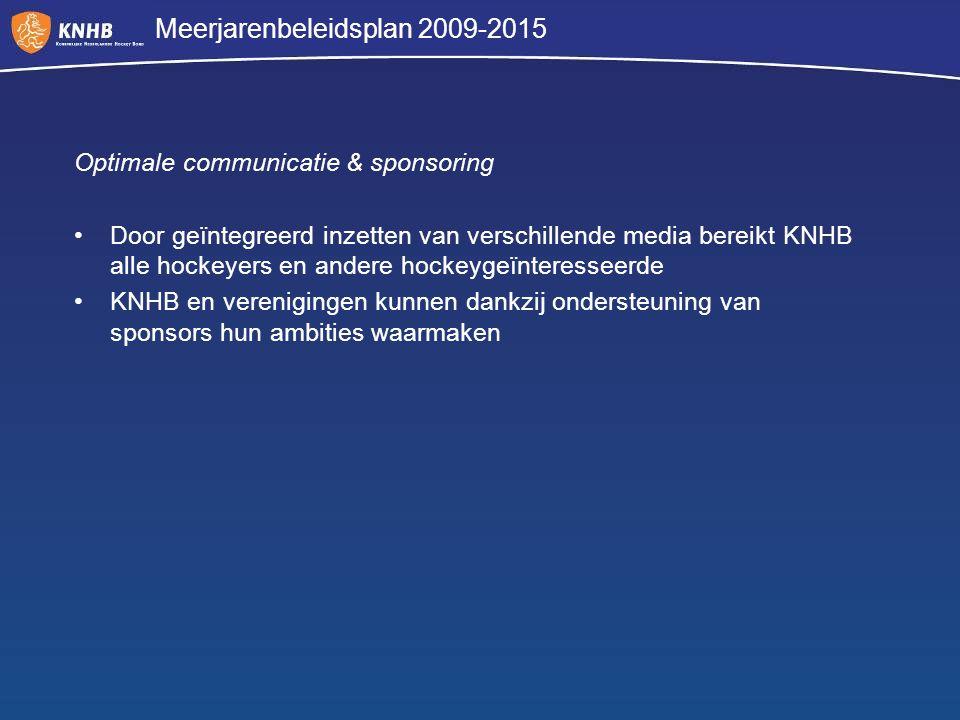 Meerjarenbeleidsplan 2009-2015 Optimale communicatie & sponsoring Door geïntegreerd inzetten van verschillende media bereikt KNHB alle hockeyers en an