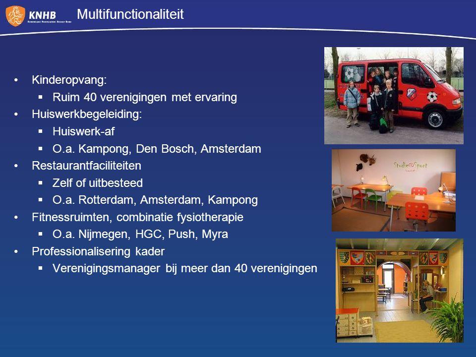Multifunctionaliteit Kinderopvang:  Ruim 40 verenigingen met ervaring Huiswerkbegeleiding:  Huiswerk-af  O.a. Kampong, Den Bosch, Amsterdam Restaur