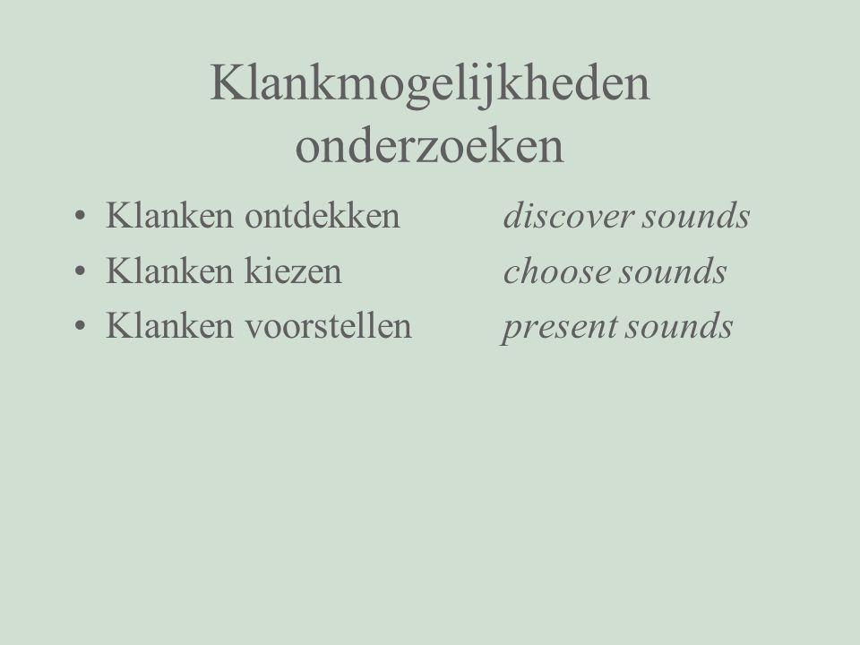Klankmogelijkheden onderzoeken Klanken ontdekkendiscover sounds Klanken kiezenchoose sounds Klanken voorstellen present sounds