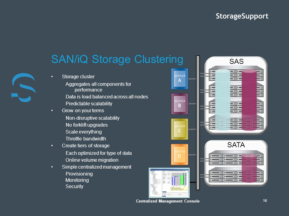 16 Storage cluster Aggregates all components for performance Data is load balanced across all nodes Predictable scalability Grow on your terms Non-dis