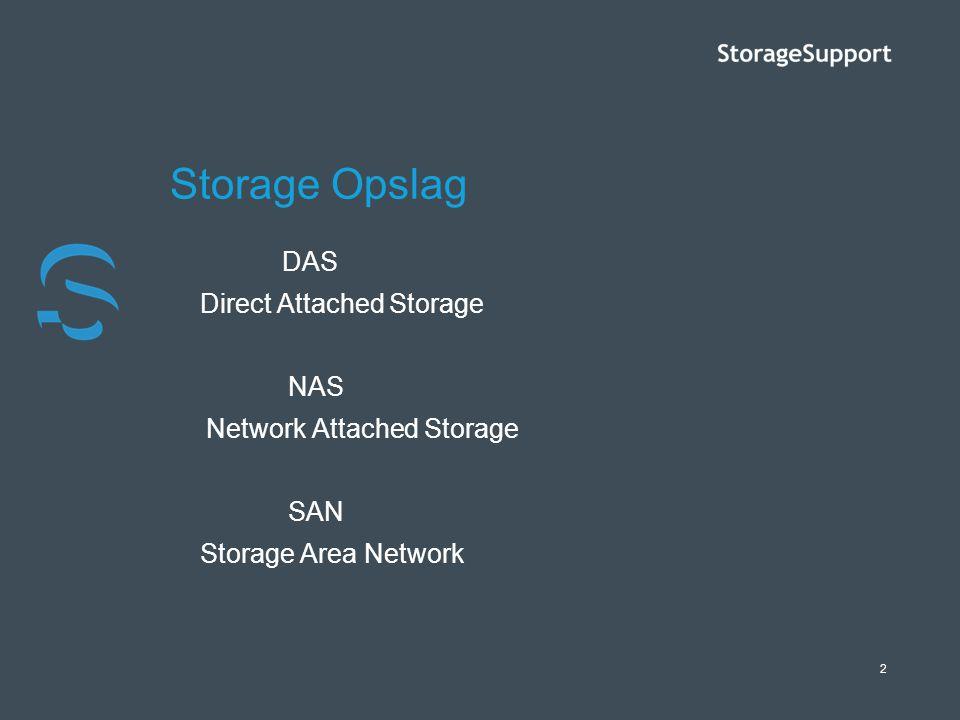 2 Storage Opslag DAS Direct Attached Storage NAS Network Attached Storage SAN Storage Area Network