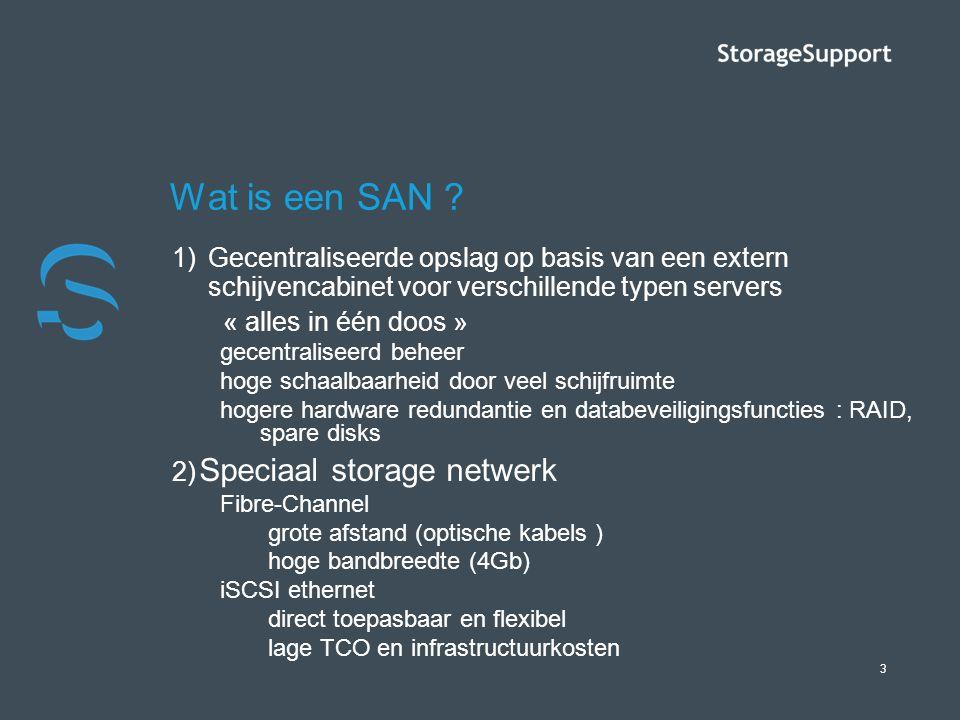 3 Wat is een SAN ? 1)Gecentraliseerde opslag op basis van een extern schijvencabinet voor verschillende typen servers « alles in één doos » gecentrali