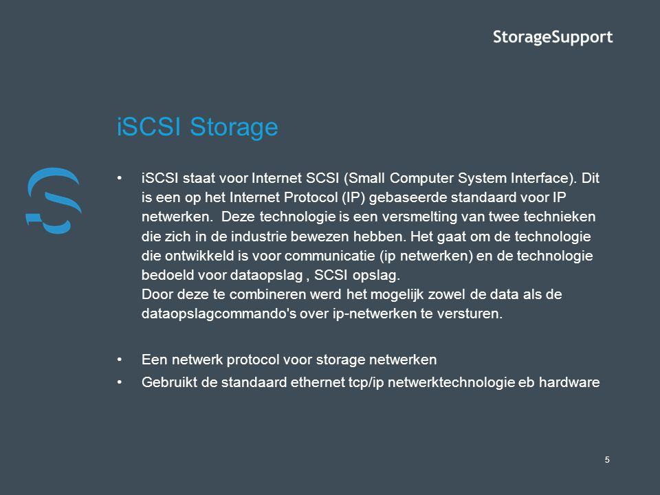 5 iSCSI Storage iSCSI staat voor Internet SCSI (Small Computer System Interface). Dit is een op het Internet Protocol (IP) gebaseerde standaard voor I
