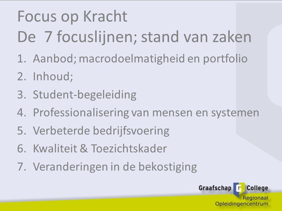 Focus op Kracht De 7 focuslijnen; stand van zaken 1.Aanbod; macrodoelmatigheid en portfolio 2.Inhoud; 3.Student-begeleiding 4.Professionalisering van mensen en systemen 5.Verbeterde bedrijfsvoering 6.Kwaliteit & Toezichtskader 7.Veranderingen in de bekostiging