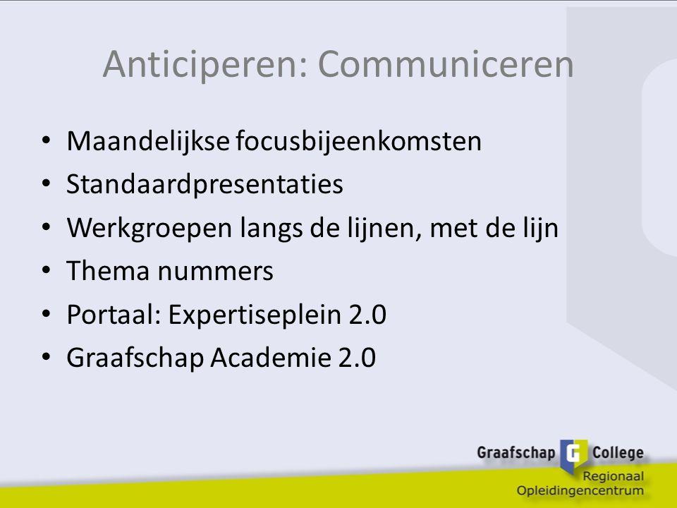 Anticiperen: Communiceren Maandelijkse focusbijeenkomsten Standaardpresentaties Werkgroepen langs de lijnen, met de lijn Thema nummers Portaal: Expertiseplein 2.0 Graafschap Academie 2.0