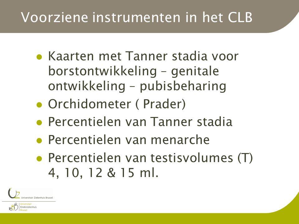 Voorziene instrumenten in het CLB Kaarten met Tanner stadia voor borstontwikkeling – genitale ontwikkeling – pubisbeharing Orchidometer ( Prader) Percentielen van Tanner stadia Percentielen van menarche Percentielen van testisvolumes (T) 4, 10, 12 & 15 ml.