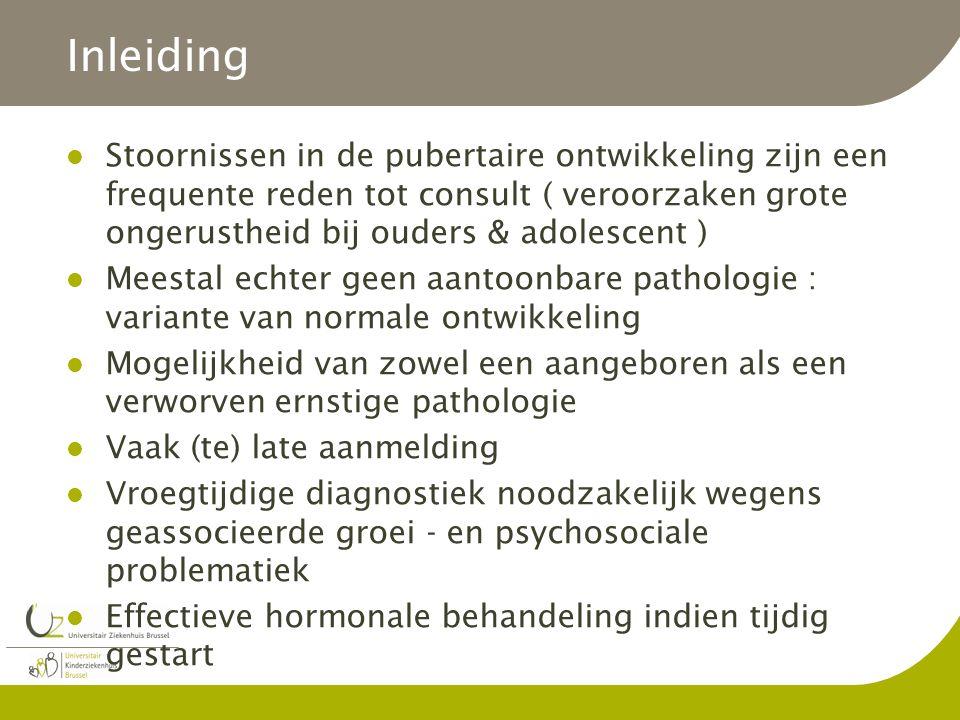 Inleiding Stoornissen in de pubertaire ontwikkeling zijn een frequente reden tot consult ( veroorzaken grote ongerustheid bij ouders & adolescent ) Me