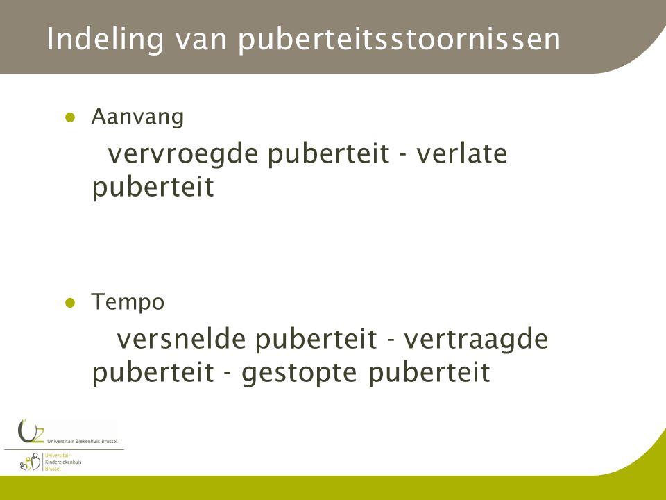 Indeling van puberteitsstoornissen Aanvang vervroegde puberteit - verlate puberteit Tempo versnelde puberteit - vertraagde puberteit - gestopte pubert
