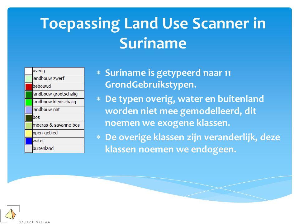 Toepassing Land Use Scanner in Suriname  Suriname is getypeerd naar 11 GrondGebruikstypen.  De typen overig, water en buitenland worden niet mee gem