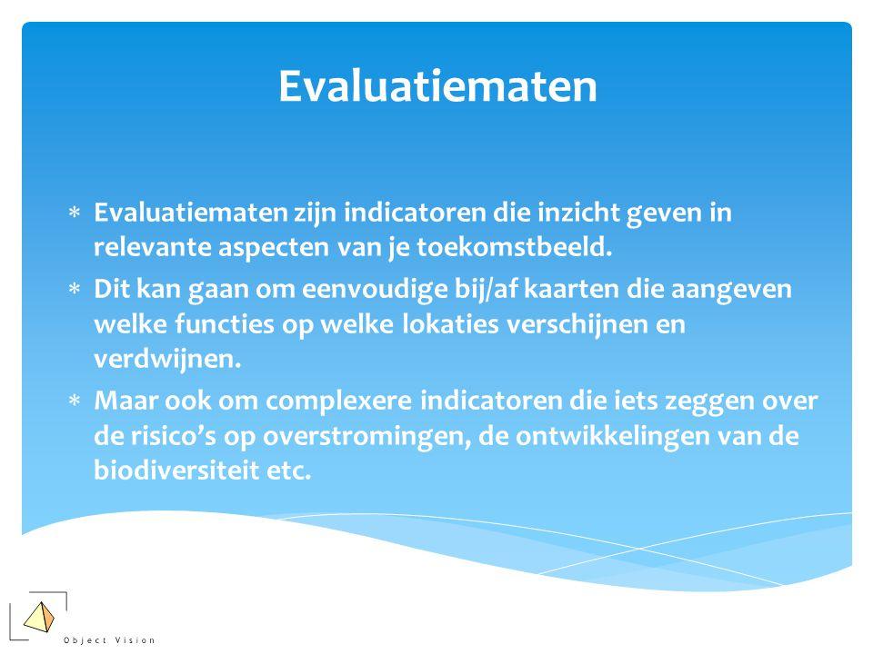 Evaluatiematen  Evaluatiematen zijn indicatoren die inzicht geven in relevante aspecten van je toekomstbeeld.  Dit kan gaan om eenvoudige bij/af kaa