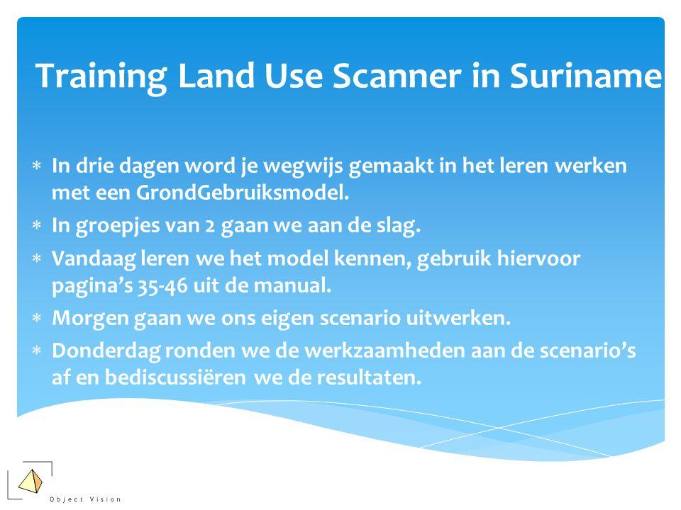 Training Land Use Scanner in Suriname  In drie dagen word je wegwijs gemaakt in het leren werken met een GrondGebruiksmodel.  In groepjes van 2 gaan