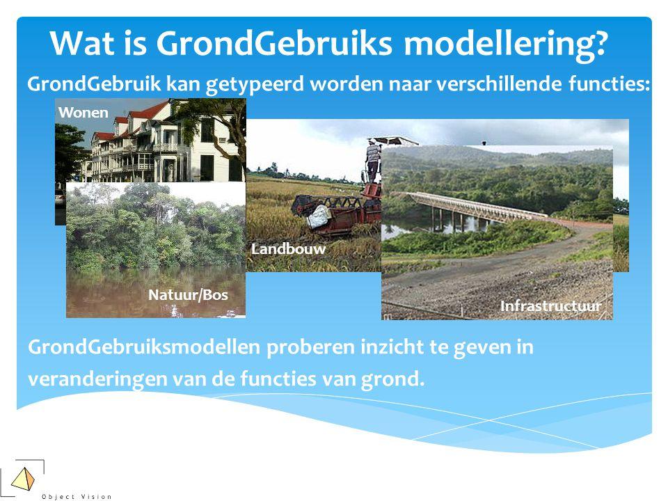 Wat is GrondGebruiks modellering?  GrondGebruik kan getypeerd worden naar verschillende functies: Landbouw Natuur/Bos Infrastructuur Wonen GrondGebru