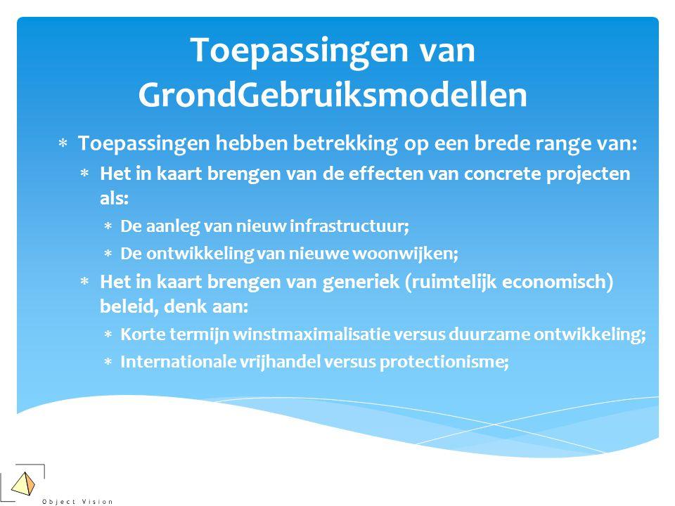 Toepassingen van GrondGebruiksmodellen  Toepassingen hebben betrekking op een brede range van:  Het in kaart brengen van de effecten van concrete pr