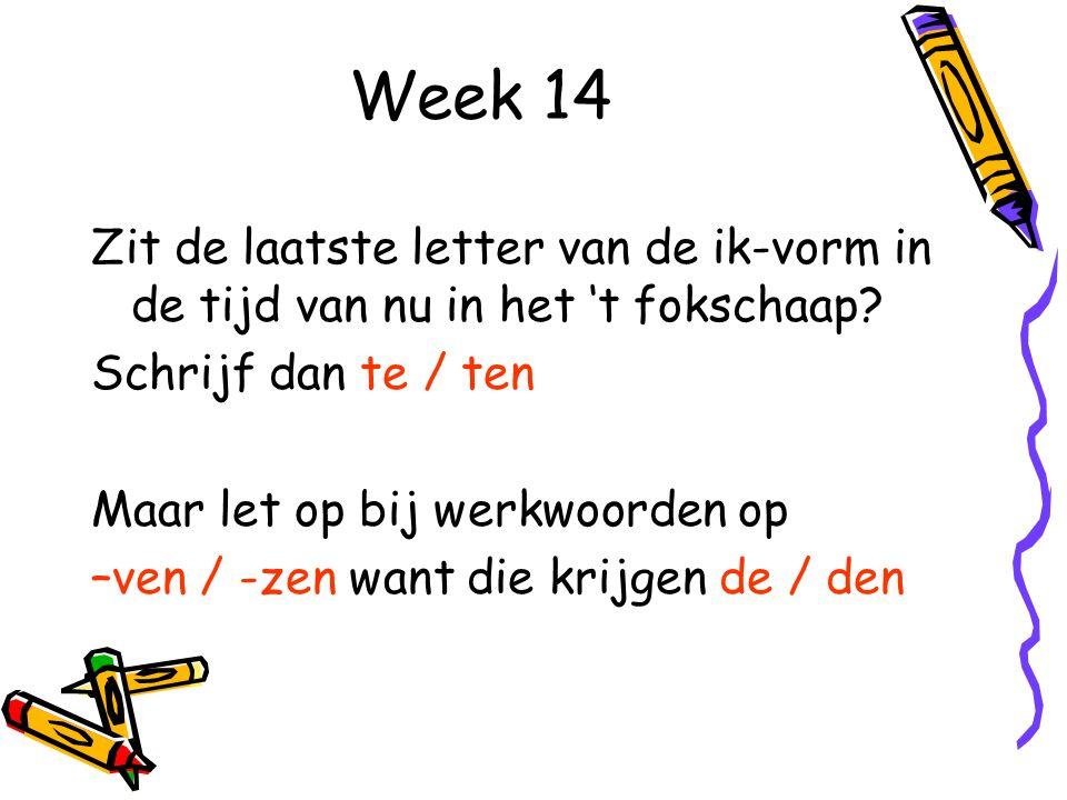 Week 14 Zit de laatste letter van de ik-vorm in de tijd van nu in het 't fokschaap.