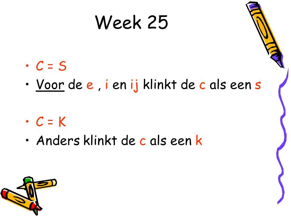 Week 25 C = S Voor de e, i en ij klinkt de c als een s C = K Anders klinkt de c als een k