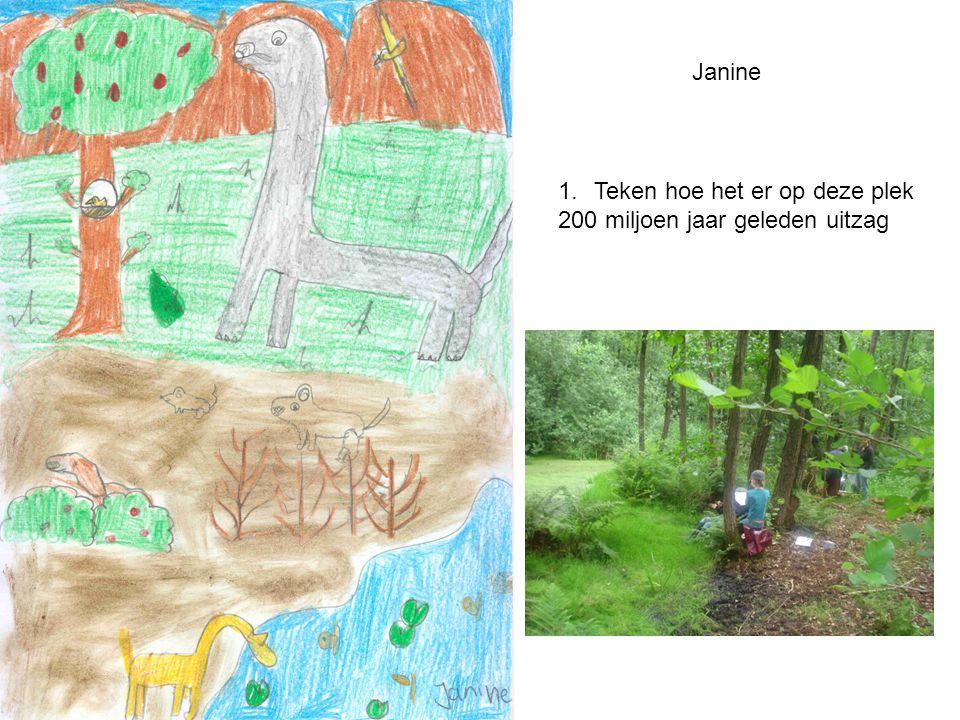 1.Teken hoe het er op deze plek 200 miljoen jaar geleden uitzag Janine