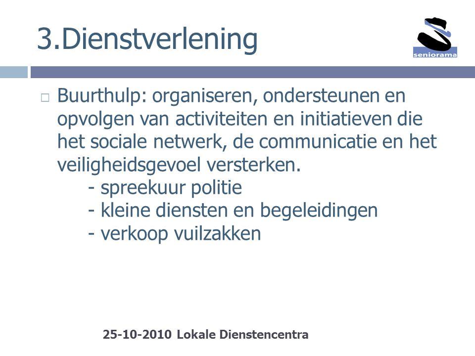 3.Dienstverlening  Buurthulp: organiseren, ondersteunen en opvolgen van activiteiten en initiatieven die het sociale netwerk, de communicatie en het