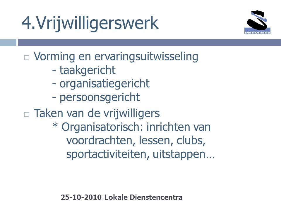 4.Vrijwilligerswerk  Vorming en ervaringsuitwisseling - taakgericht - organisatiegericht - persoonsgericht  Taken van de vrijwilligers * Organisator
