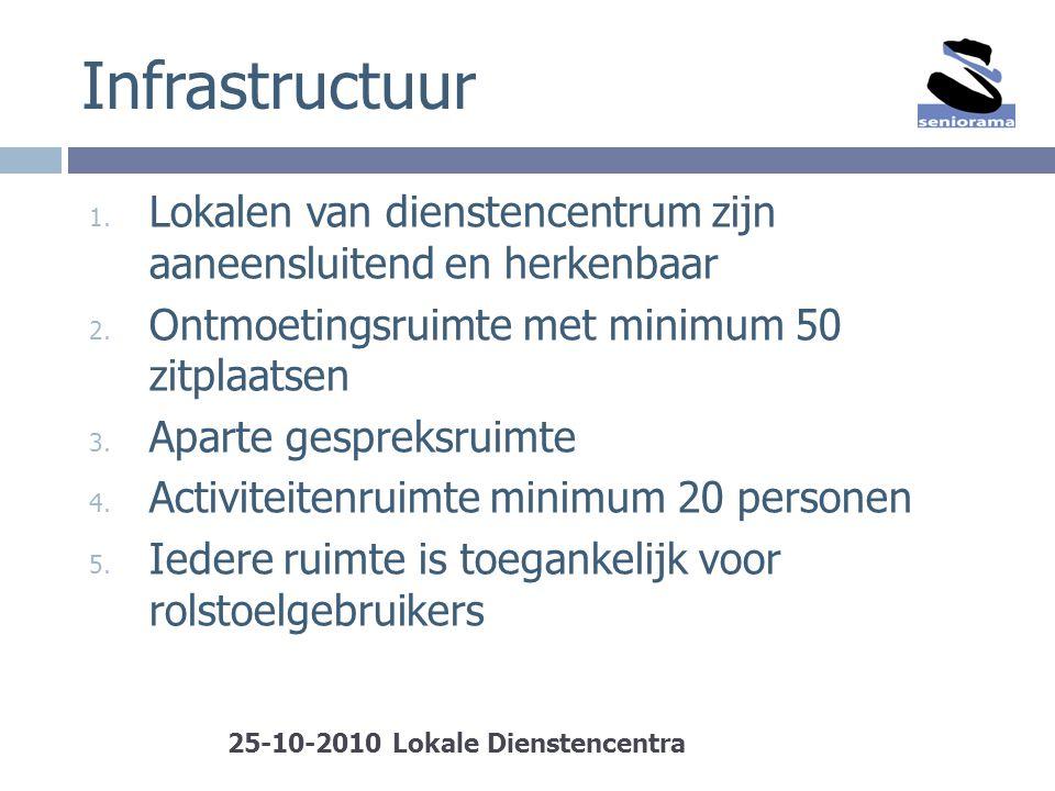 Infrastructuur 1. Lokalen van dienstencentrum zijn aaneensluitend en herkenbaar 2. Ontmoetingsruimte met minimum 50 zitplaatsen 3. Aparte gespreksruim