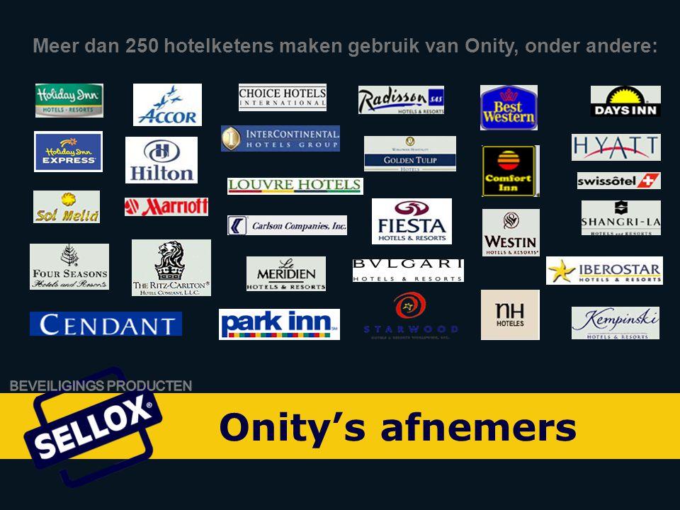 Onity Advance by SELLOX Meer dan 250 hotelketens maken gebruik van Onity, onder andere: Onity's afnemers