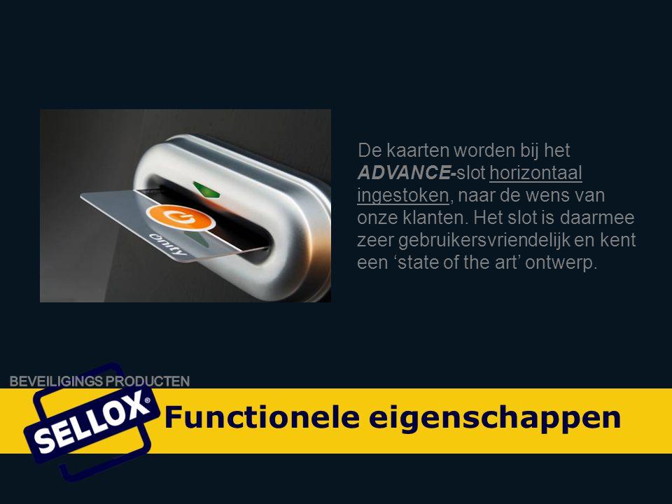 Onity Advance by SELLOX De kaarten worden bij het ADVANCE-slot horizontaal ingestoken, naar de wens van onze klanten.