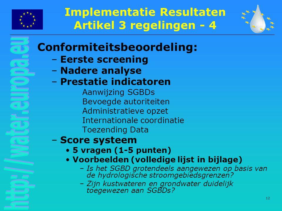 12 Conformiteitsbeoordeling: –Eerste screening –Nadere analyse –Prestatie indicatoren Aanwijzing SGBDs Bevoegde autoriteiten Administratieve opzet Int