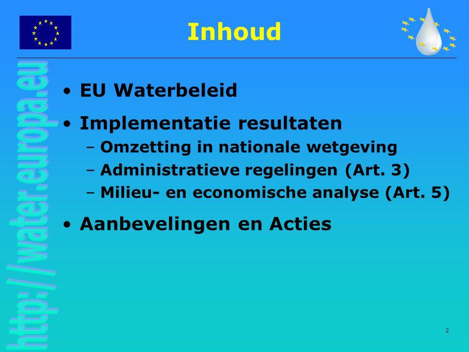 2 Inhoud EU Waterbeleid Implementatie resultaten –Omzetting in nationale wetgeving –Administratieve regelingen (Art. 3) –Milieu- en economische analys