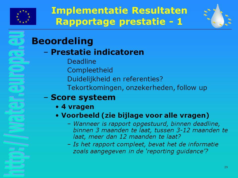 29 Beoordeling –Prestatie indicatoren Deadline Compleetheid Duidelijkheid en referenties.