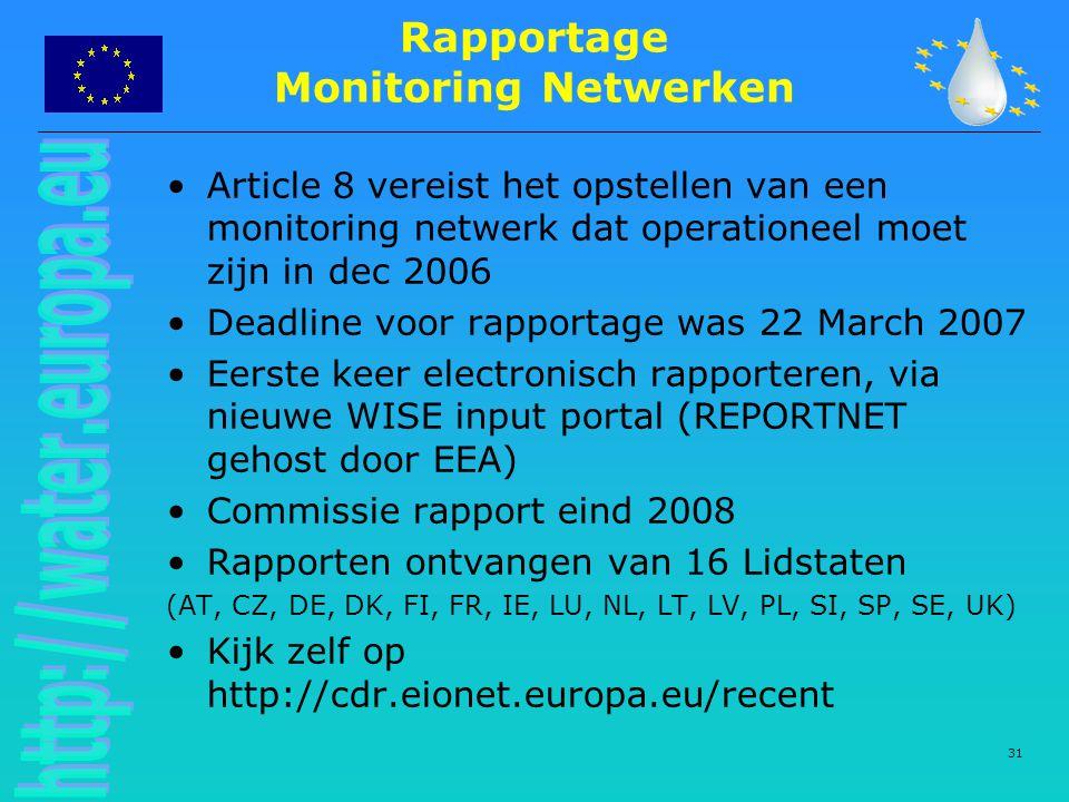 31 Rapportage Monitoring Netwerken Article 8 vereist het opstellen van een monitoring netwerk dat operationeel moet zijn in dec 2006 Deadline voor rapportage was 22 March 2007 Eerste keer electronisch rapporteren, via nieuwe WISE input portal (REPORTNET gehost door EEA) Commissie rapport eind 2008 Rapporten ontvangen van 16 Lidstaten (AT, CZ, DE, DK, FI, FR, IE, LU, NL, LT, LV, PL, SI, SP, SE, UK) Kijk zelf op http://cdr.eionet.europa.eu/recent
