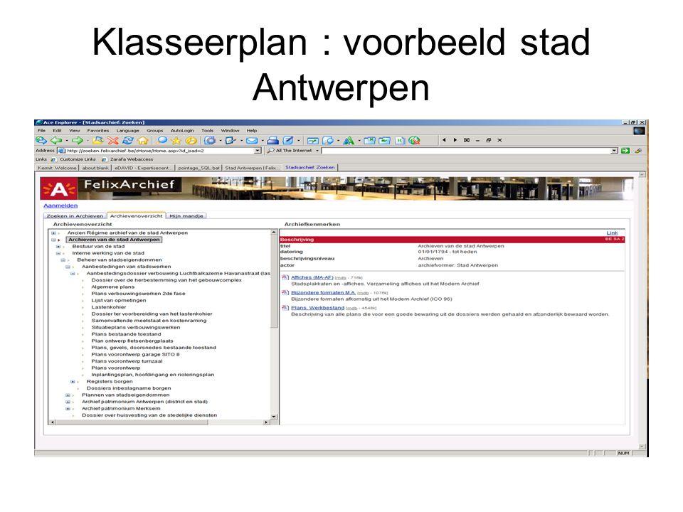 Klasseerplan : voorbeeld stad Antwerpen