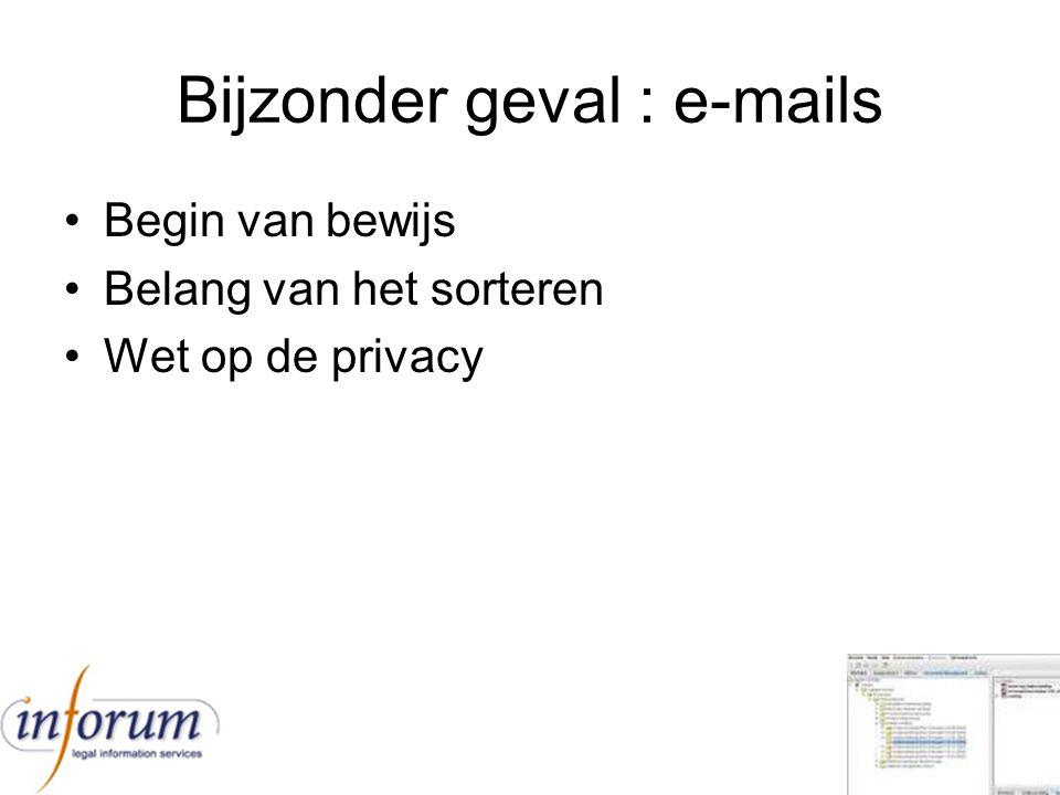 Bijzonder geval : e-mails Begin van bewijs Belang van het sorteren Wet op de privacy