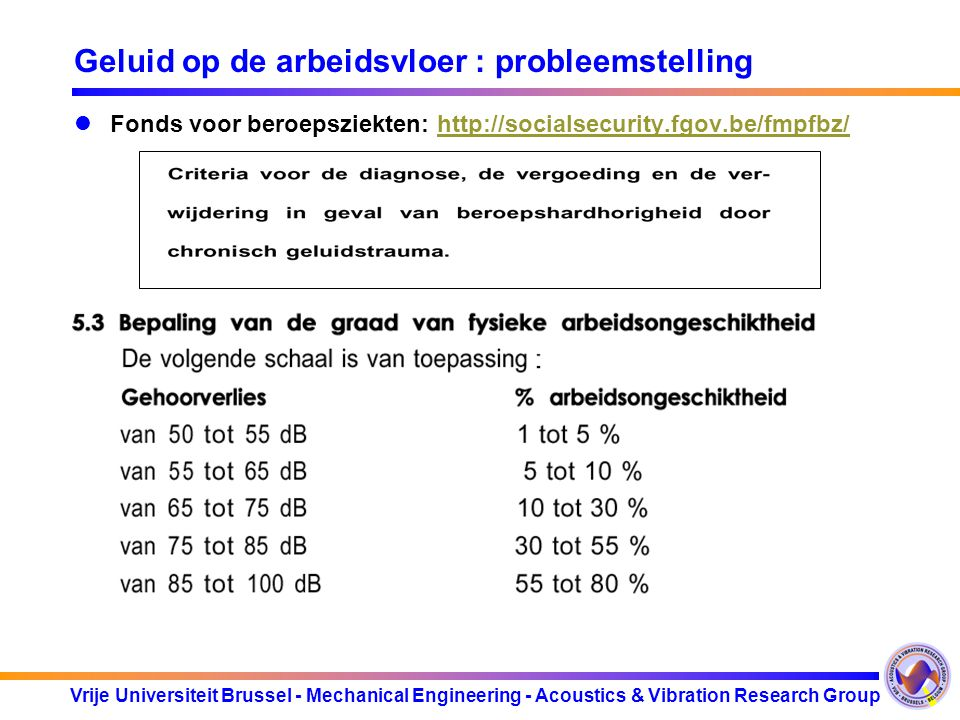Vrije Universiteit Brussel - Mechanical Engineering - Acoustics & Vibration Research Group Geluid op de arbeidsvloer : probleemstelling Fonds voor ber