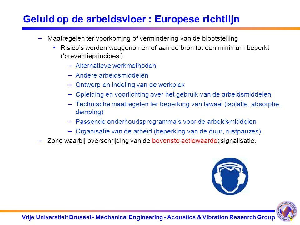 Vrije Universiteit Brussel - Mechanical Engineering - Acoustics & Vibration Research Group Geluid op de arbeidsvloer : Europese richtlijn –Maatregelen