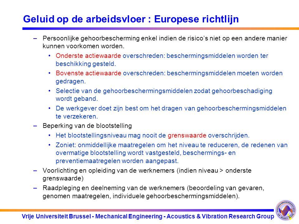 Vrije Universiteit Brussel - Mechanical Engineering - Acoustics & Vibration Research Group Geluid op de arbeidsvloer : Europese richtlijn –Persoonlijk