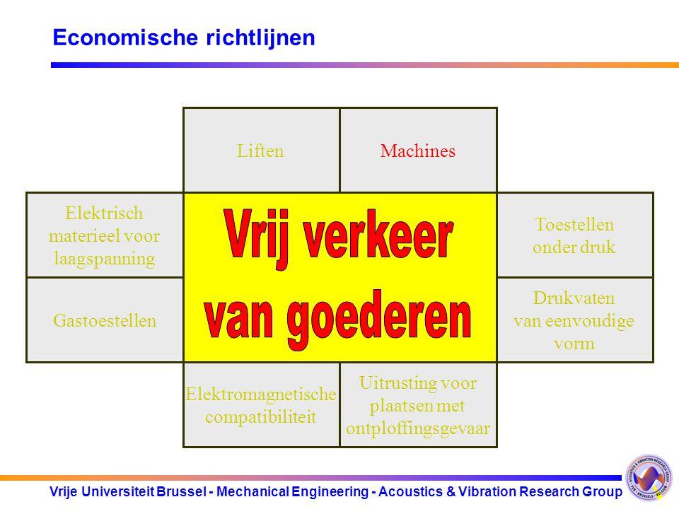 Vrije Universiteit Brussel - Mechanical Engineering - Acoustics & Vibration Research Group Sociale richtlijnen 1 Arbeidsplaatsen 2 Arbeidsmiddelen 3 Persoonlijke Beschermings Middelen 4 Manueel hanteren van lasten met gevaar voor rugletsel 5 Werken met beeldscherm- apparatuur 6 Blootstelling aan carcinogene agentia 7 Blootstelling aan biologische agentia 8 Tijdelijke mobiele bouwplaatsen 9 Veiligheids- en/of gezondheids- signalering 10 Werkneemsters tijdens de zwangerschap 11 Delfstoffen winnen door boringen 12 Winningsindustrieë n ondergronds 13 Werk aan boord van vissersvaartuigen 14 Risico's van chemische agentia 15 Gevaar door explosieve atmosferen 16 Risico's van fysische agentia (geluid)