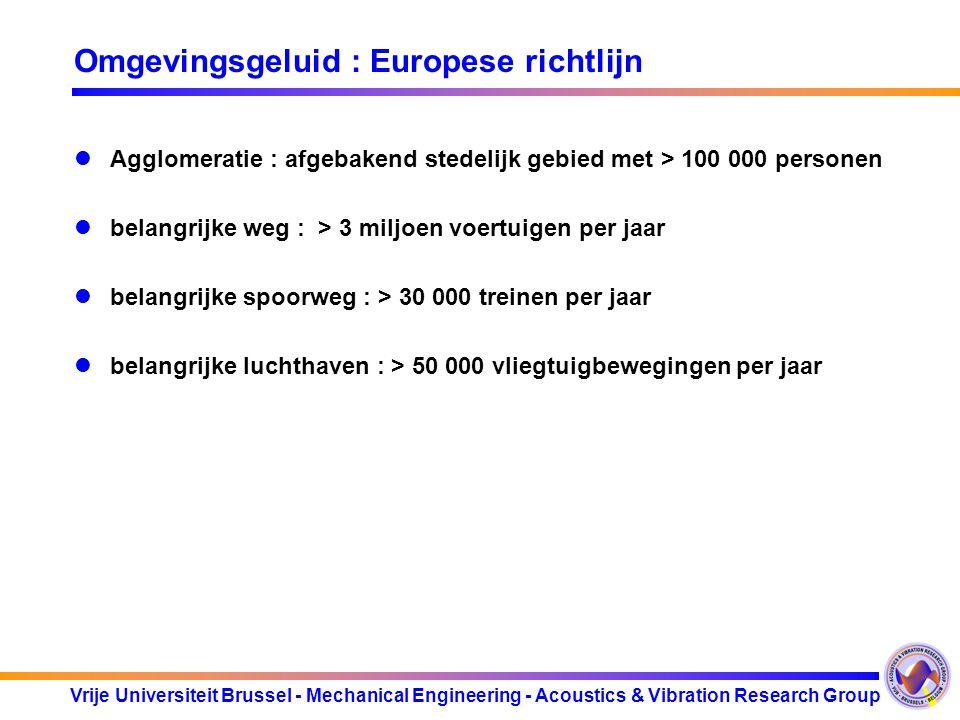 Vrije Universiteit Brussel - Mechanical Engineering - Acoustics & Vibration Research Group Omgevingsgeluid : Europese richtlijn Agglomeratie : afgebak