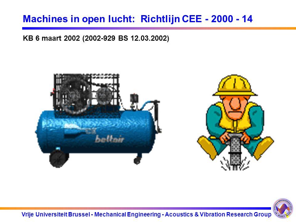 Vrije Universiteit Brussel - Mechanical Engineering - Acoustics & Vibration Research Group Machines in open lucht: Richtlijn CEE - 2000 - 14 3KB van 22 maart 2002 3Eisen voor geluidsemissie voor een brede waaier van materieel voor gebruik buitenshuis 3Bescherming van de burger 3Informatie 3Harmonisatie: voorkomen van de belemmering van het vrije verkeer 3Materieel in de handel gebracht vanaf 1/1/2002 3Ingedeeld in 2 groepen artikel 12 (met limietwaarden) & artikel 13 (zonder limietwaarden) 3gemeten geluidsvermogenniveau (L WA ) 3gewaarborgd geluidsvermogenniveau (L WA ) < toelaatbaar geluidsvermogenniveau