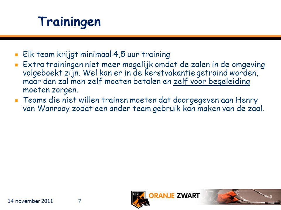 14 november 2011 7 Trainingen Elk team krijgt minimaal 4,5 uur training Extra trainingen niet meer mogelijk omdat de zalen in de omgeving volgeboekt z