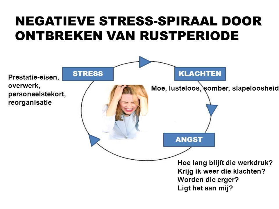11 NEGATIEVE STRESS-SPIRAAL DOOR ONTBREKEN VAN RUSTPERIODE STRESSKLACHTEN ANGST Moe, lusteloos, somber, slapeloosheid Prestatie-eisen, overwerk, perso