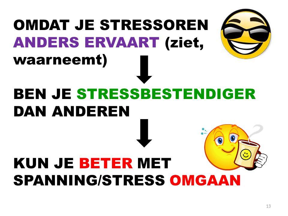 13 OMDAT JE STRESSOREN ANDERS ERVAART (ziet, waarneemt) BEN JE STRESSBESTENDIGER DAN ANDEREN KUN JE BETER MET SPANNING/STRESS OMGAAN