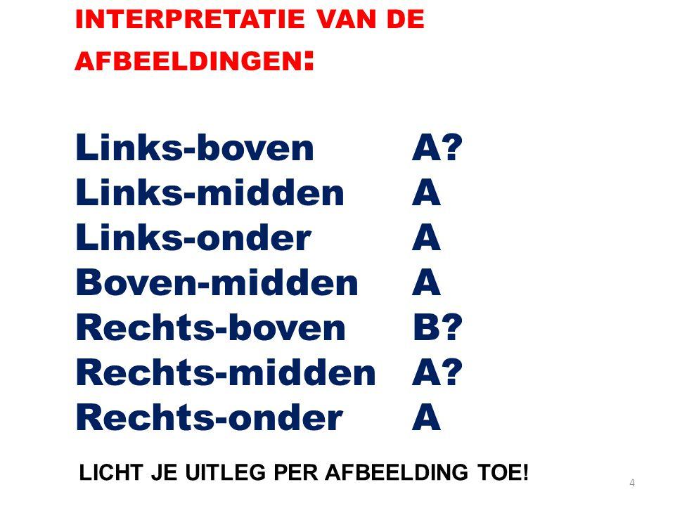 4 INTERPRETATIE VAN DE AFBEELDINGEN : Links-bovenA? Links-middenA Links-onderA Boven-middenA Rechts-bovenB? Rechts-middenA? Rechts-onderA LICHT JE UIT